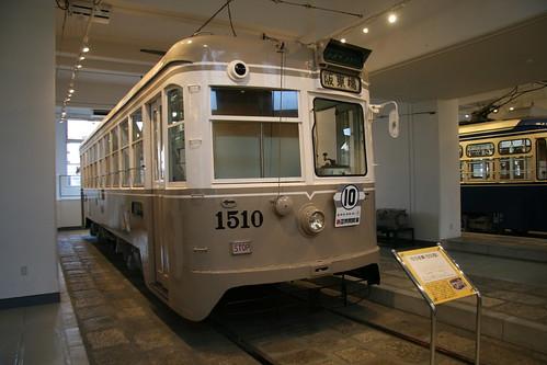 Yokohama Municipal Tram 1500 series in Yokohama Tram Museum, Yokohama, Kanagawa, Japan  /July 17, 2017