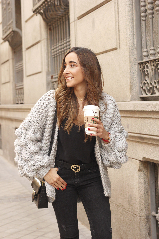 Grey cardigan black jeans folli folie watch leopard print heels starbucks tea street style fall outfit 201807