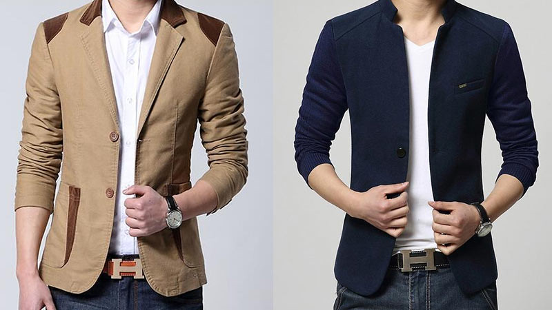 Blazer bahan katun (kiri) dan blazer bahan wol (kanan).