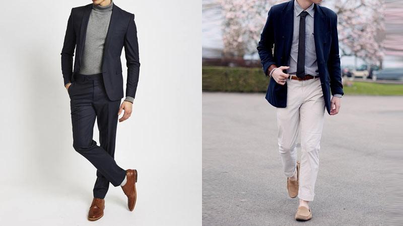 Jaket Blazer Pria dengan sweter turtleneck (kiri) dan blazer dengan kemeja berdasi (kanan)