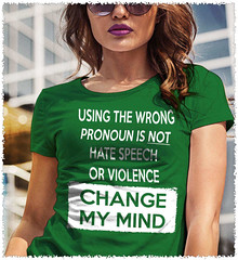 Using The Wrong Pronoun Is Not Hate Speech Or Violence - Change My Mind. Women's: Gildan Ladies' 100% Cotton T-Shirt. Irish Green.  | Loyal Nine Apparel