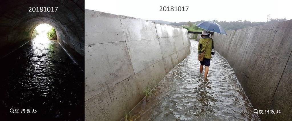 4_走出涵洞後,兩側是一米半的清水模高牆。