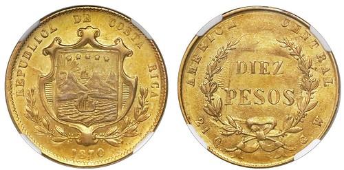 1870 Costa Rica Gold 10 Pesos
