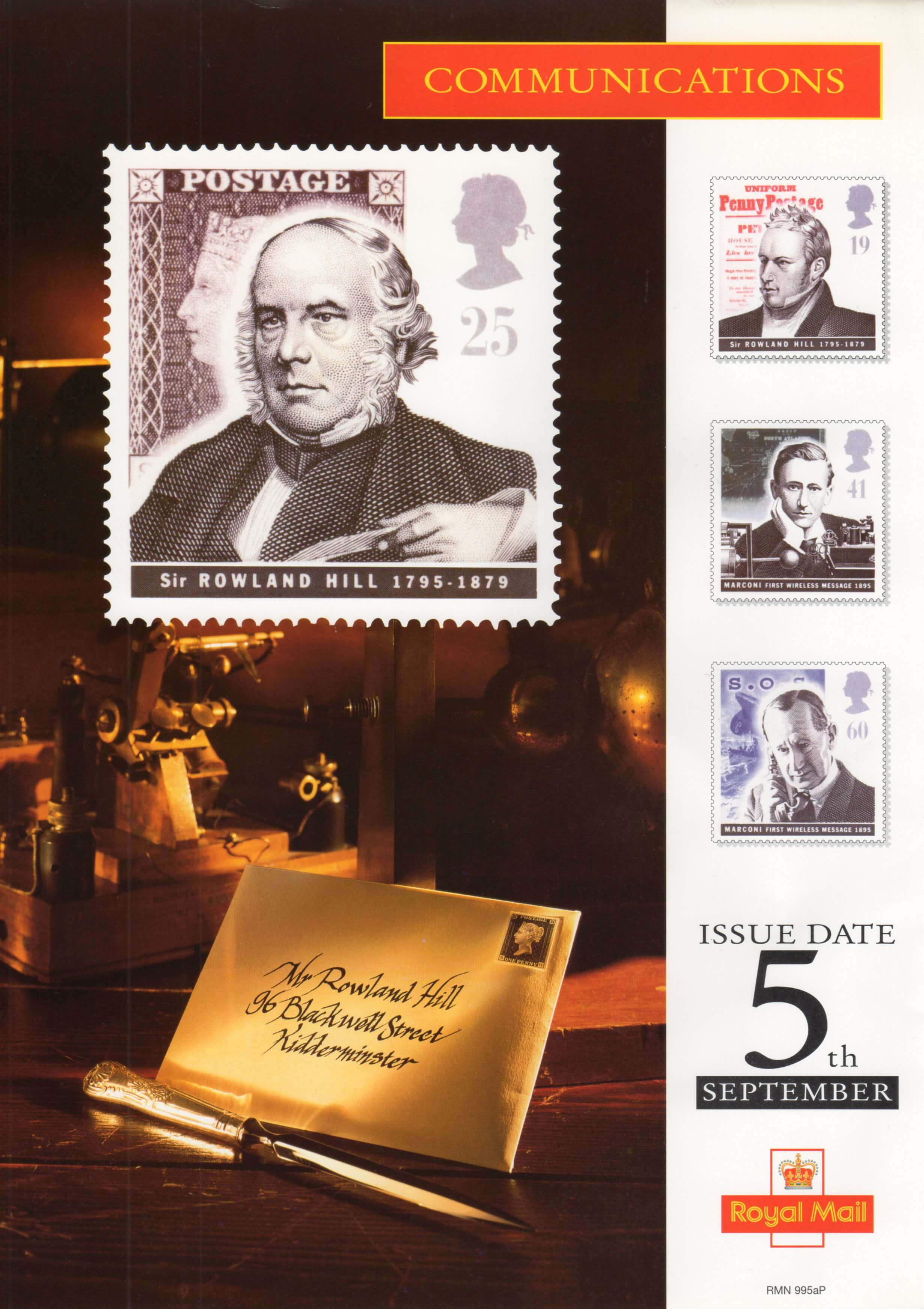 Royal Mail poster advertising the 1995 Communications stamp set, Scott #1625-1628