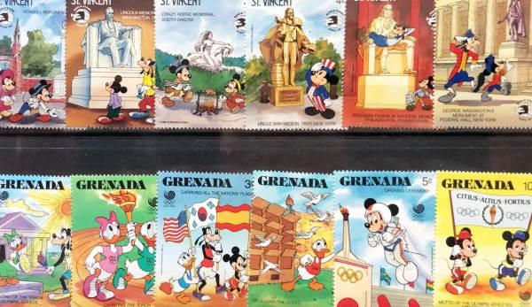 Známky Walt Disney 12 ks rôznych neorazených