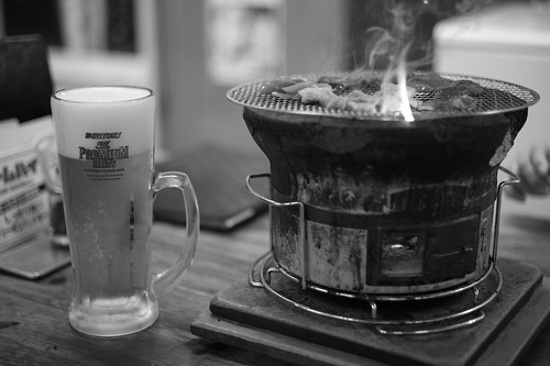 Grilled meat and beer