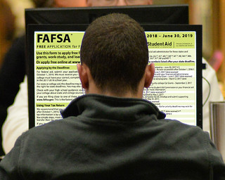 Wed, 03/14/2018 - 10:50 - A photograph of a student completing the FAFSA, courtesy of GCC
