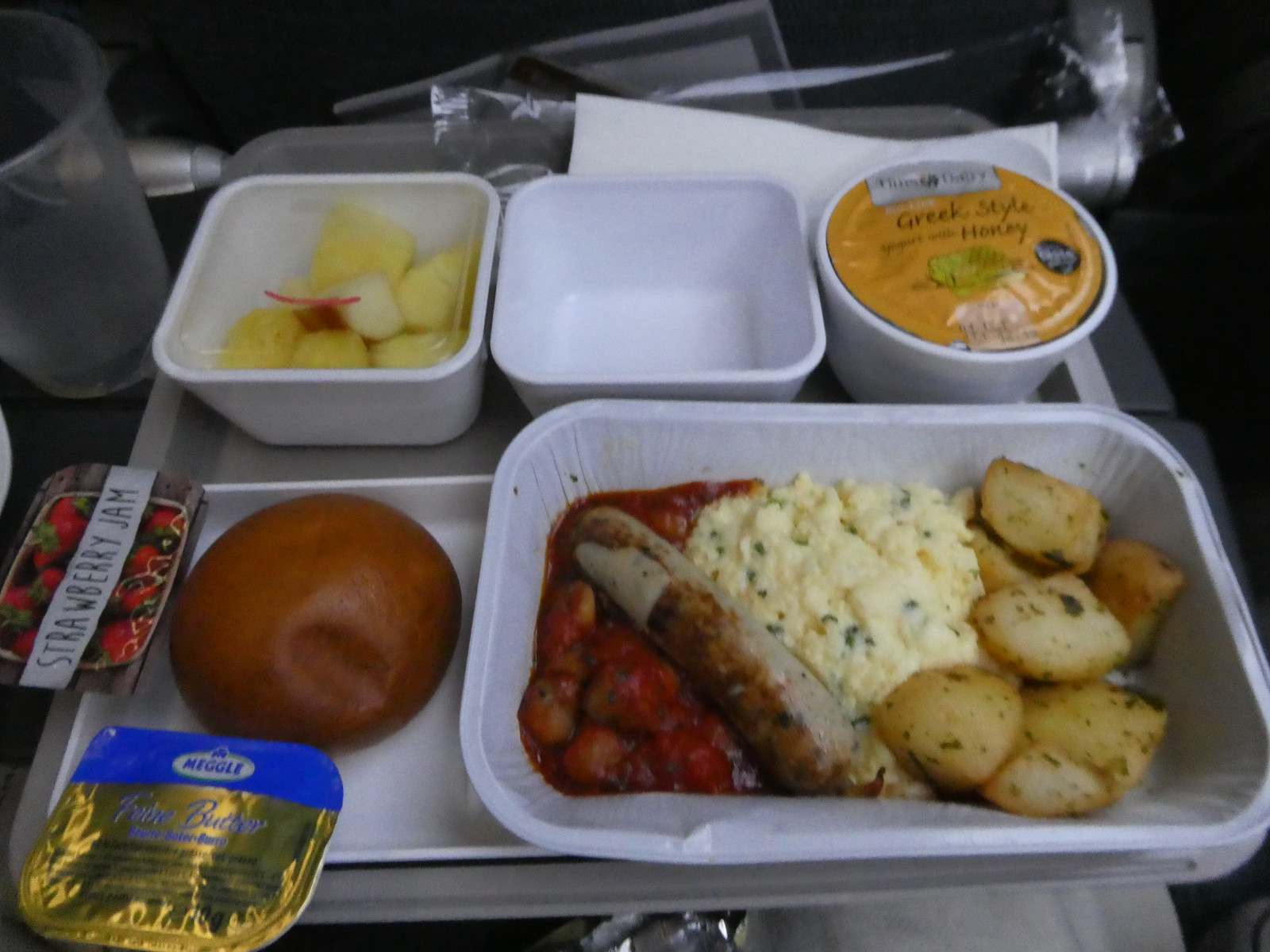 Breakfast served on board our flight from Manchester to Hong Kong