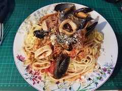 Pasta with Calamari, Mussels & Prawns in a spicy tomato sauce.