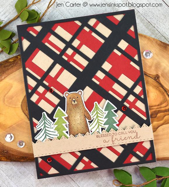 Jen Carter Diagonal Plaid Rustic Christmas Stitched Chevron Border WM
