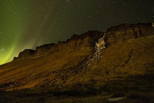 Djupavik Falls with aurora