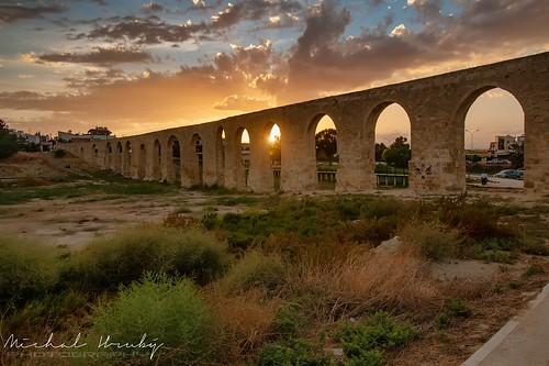 larnaca cyprus kamares aqueduct sunset