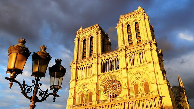 Notre-Dame de Paris glowing in the late afternoon light