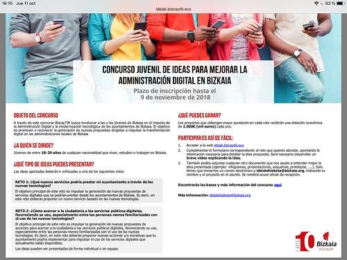 Concurso ¿juvenil? de ideas para mejorar la Administración Digital en Bizkaia