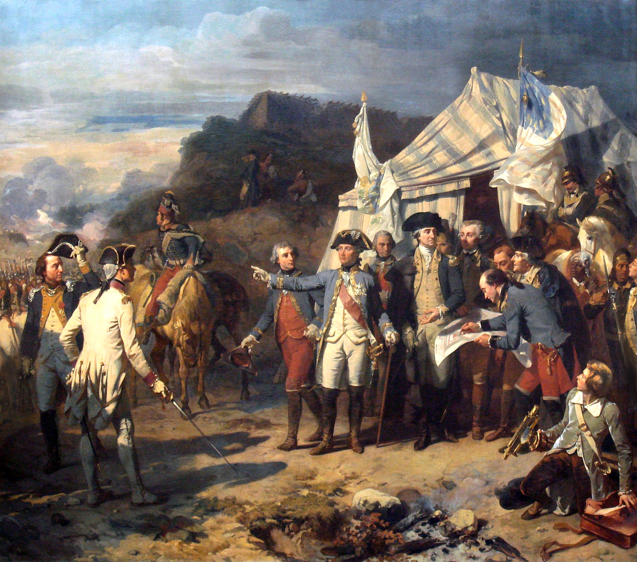 Siège de Yorktown by Auguste Couder, oil on canvas painting circa 1836. Rochambeau and Washington giving their last orders before the battle. Currently in Galerie des Batailles at the Palace of Versailles.