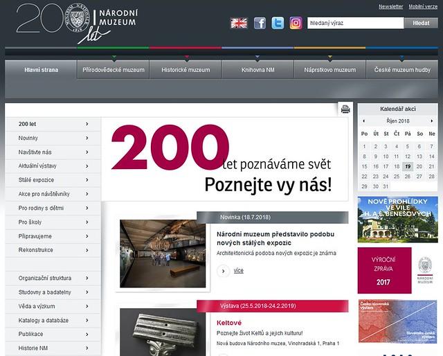 Starý web Národního muzea v Praze v červenci 2018