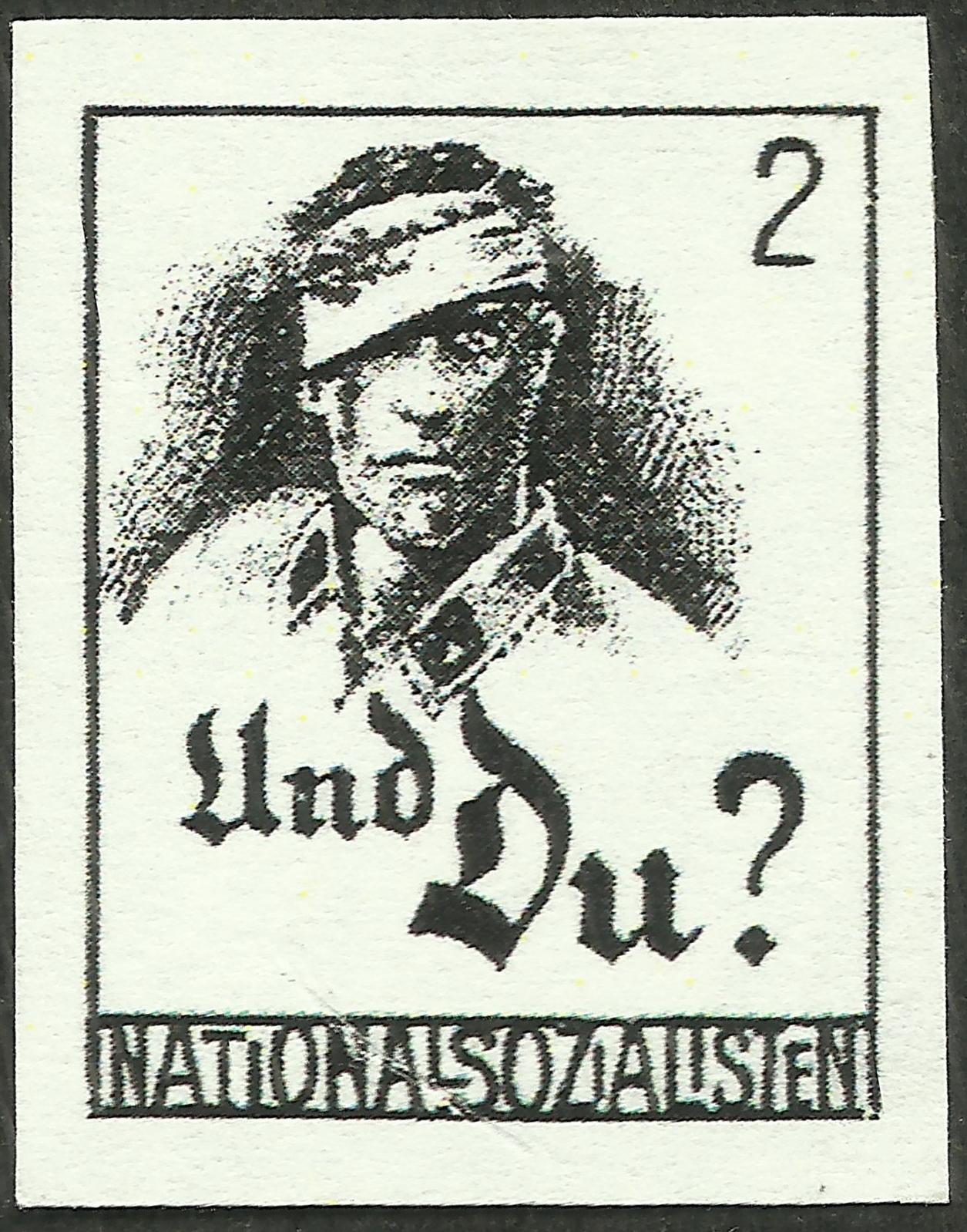 German propaganda stamp promoting National Socialism