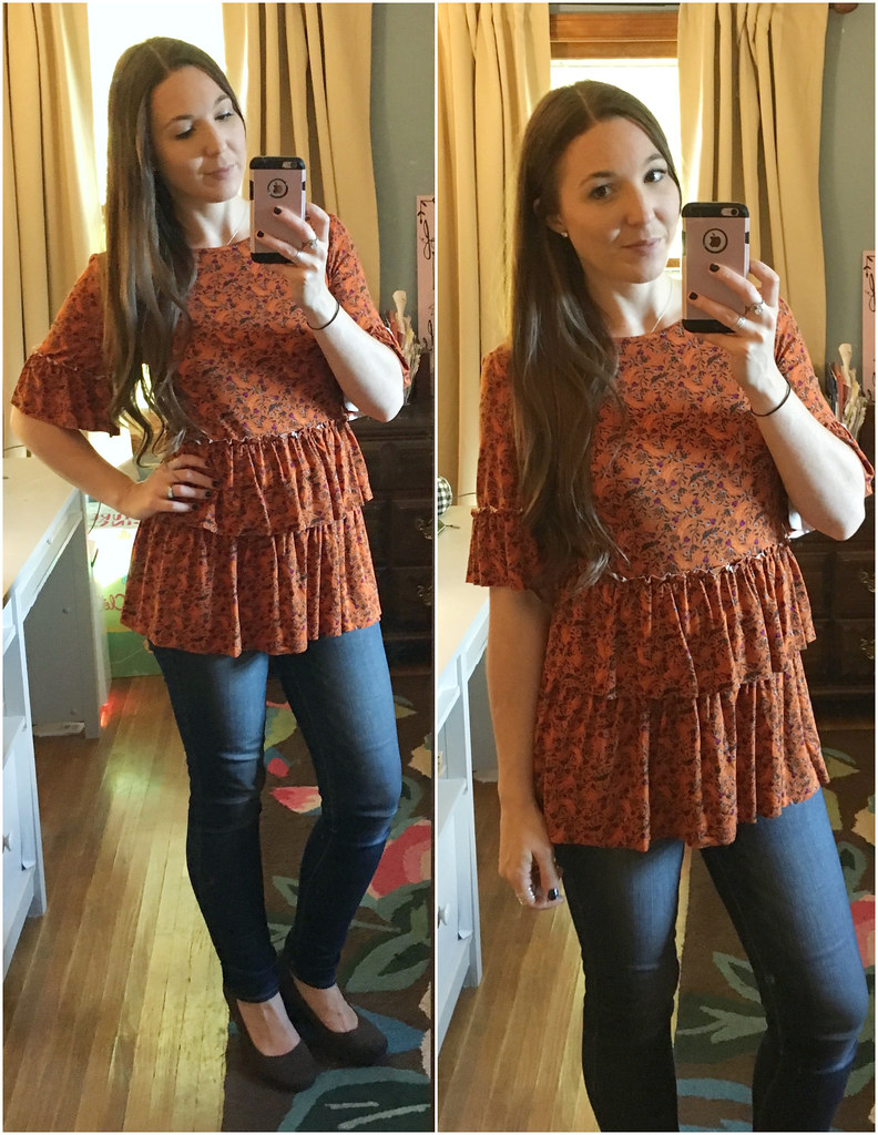 matilda jane women's orange thanksgiving top
