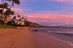 Sunset colors Kaanapali beach on Maui Hawaii
