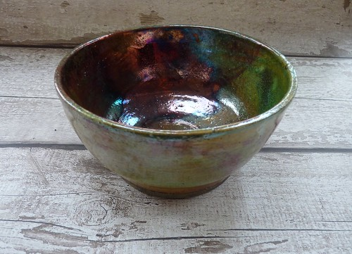 green copper raku bowl