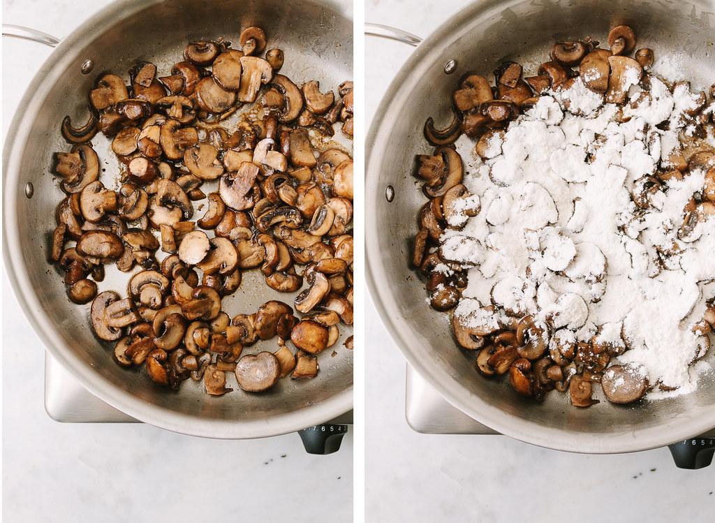 mushrooms sauteed, flour added