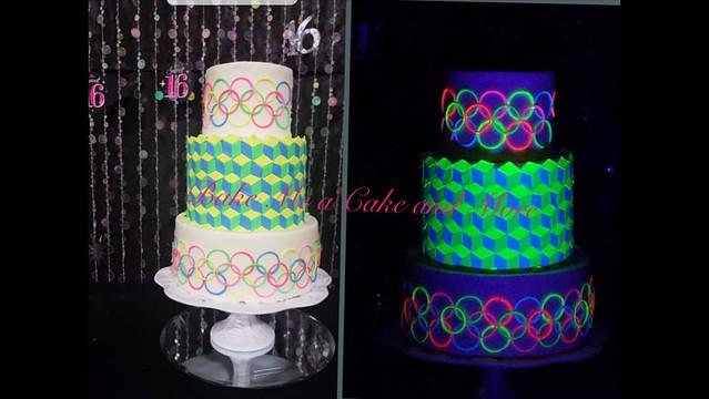Sweet Sixteen Geometric Blacklight Cake by Charlotte VanMol of Bake Me a Cake and More
