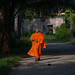 Cambodian monk walking in the street, Battambang province, Battambang, Cambodia by Eric Lafforgue