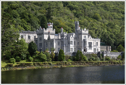 kylemore abbey mansion castle county galway irish ireland lake forest woods trees architecture building
