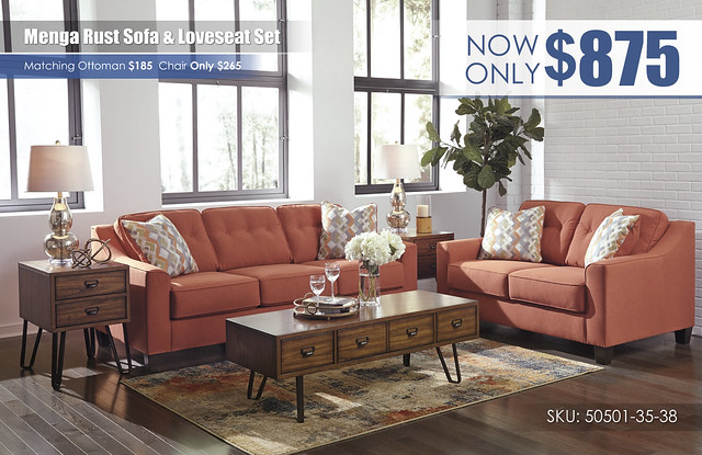 Menga Rust Sofa & Loveseat_50501-38-35-T762