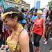 DSC_8457 Notting Hill Caribbean Carnival London Exotic Colourful Gold Costume Girls Dancing Showgirl Performers Aug 27 2018 Stunning Lady on the Phone