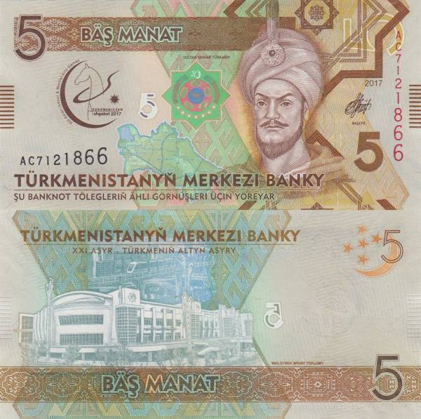 5 Manat Turkménsko 2017, P36