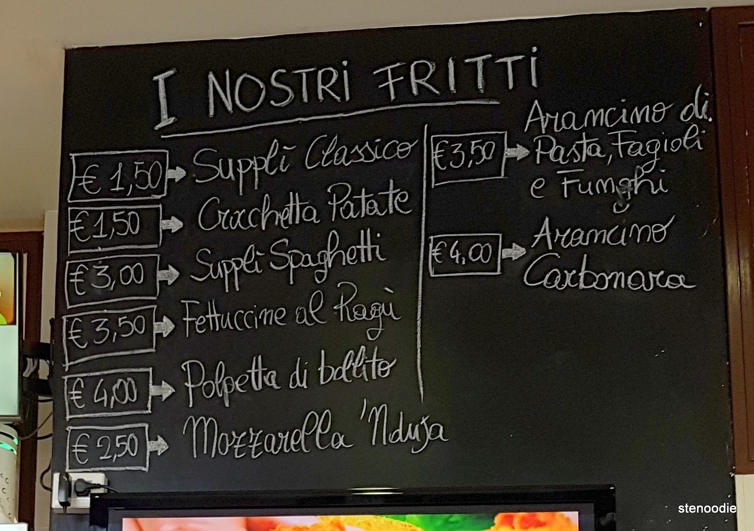 Bonci Pizzarium fritti menu