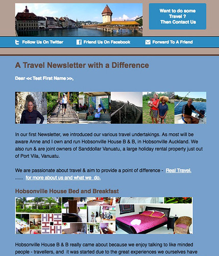 Travel Newsletter outlining the travel web that is associated with the travel entities associated with watt.nz