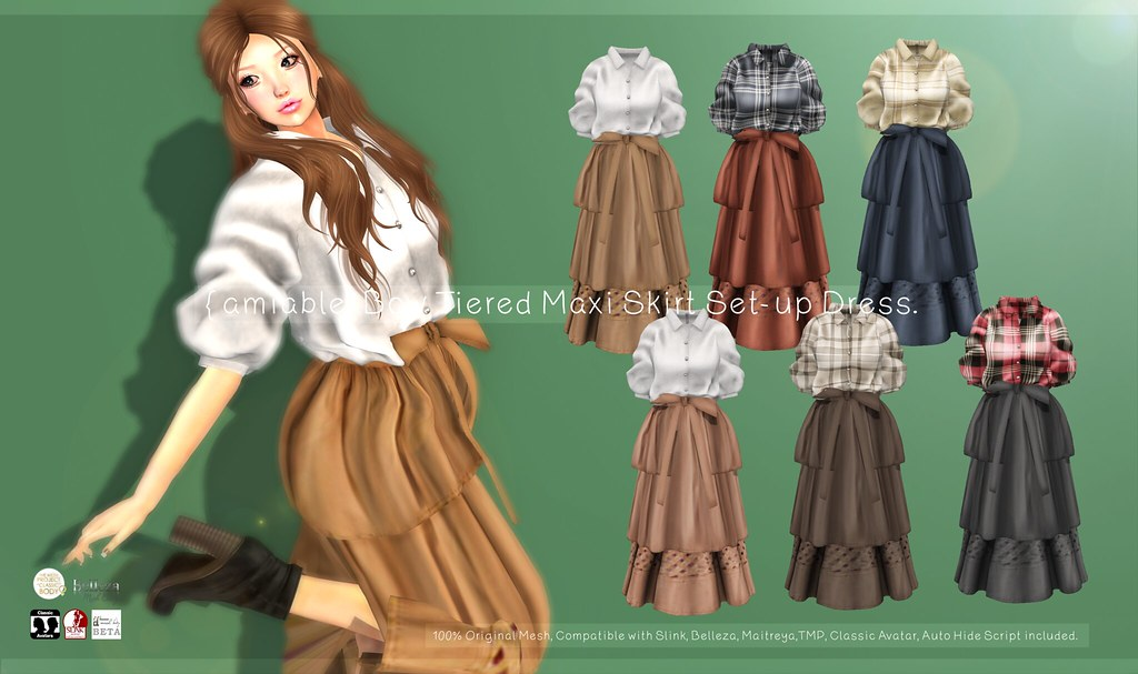 {amiable}Bow Tiered Maxi Skirt Set-up Dress@N21 21th Oct(50%OFF SALE).