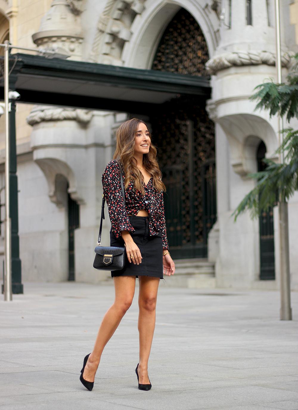 black flower shirt black denim skirt black heels givenchy bag autumn outfit street style 201804