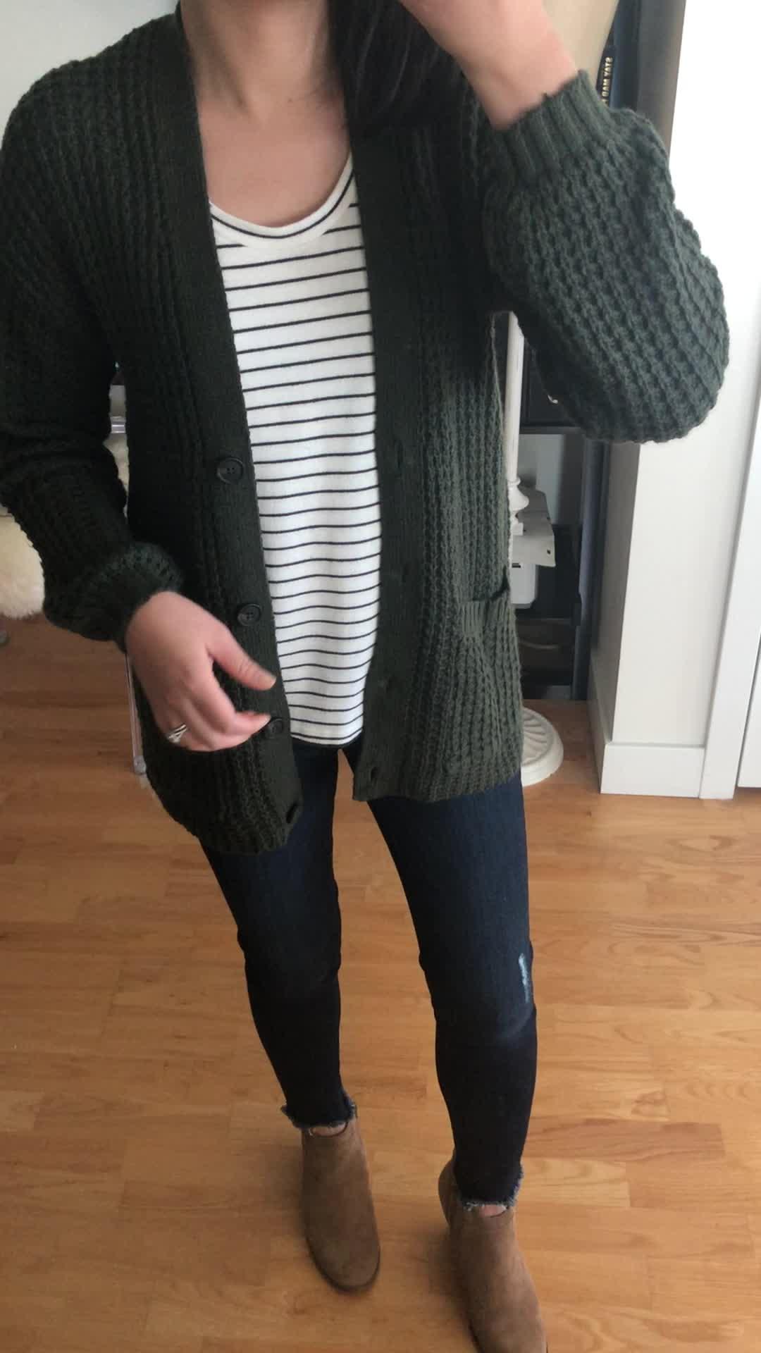 AE Slouchy Waffle Cardigan Sweater in olive, size XXS