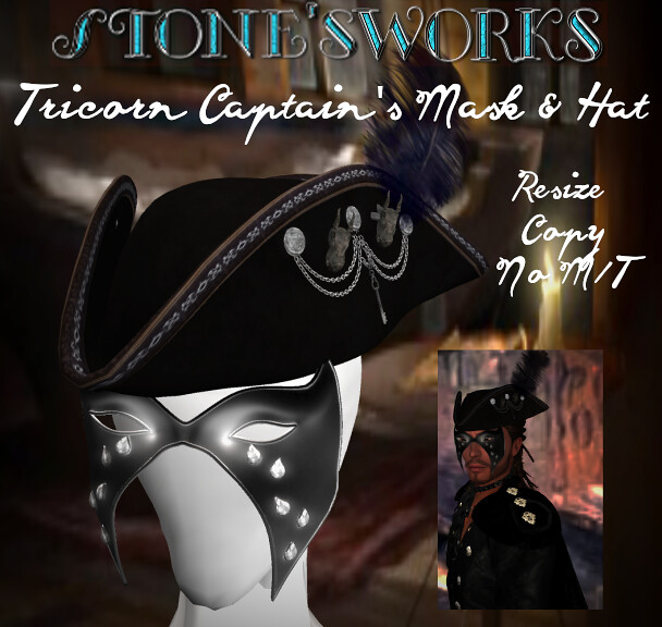Black Tricorn Dragon Captains Hat Stone's Works