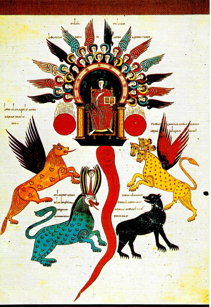 Visión de las cuatro bestias y juicio sobre ellas. Dn. VII, 4-10 Santo Toribio de Liébana (Cantabria), San Beato de Liébana (siglo VIII),