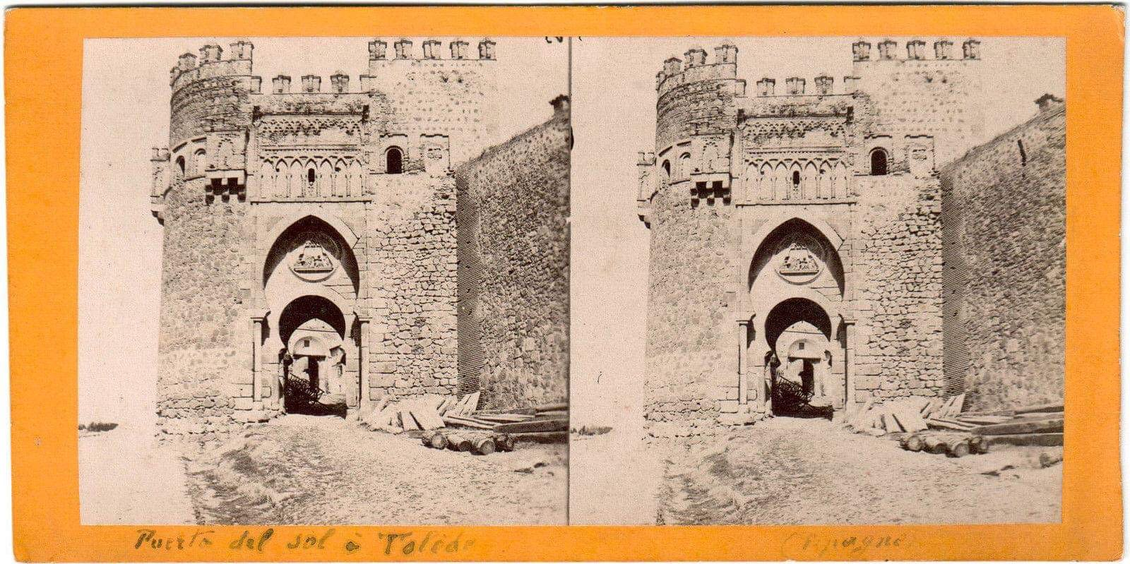 Foto estereoscópica de la Puerta del Sol en 1863 por Ernest Lamy.
