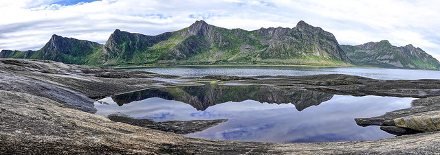 Tungeneset: mountains and reflections - panorama