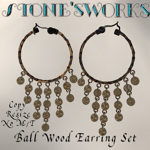 Magic Ball Wooden Earrings Set Stone's Works