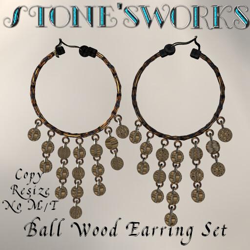 Magic Ball Wooden Earrings Set Stone's Works - TeleportHub.com Live!