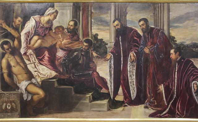 Madonna col Bambino e i santi Sebastiano, Marco, Teodoro venerata da tre comerlenghi e di loro segretari, Jacopo Robusti detto Jacopo Tintoretto, 1519-1594