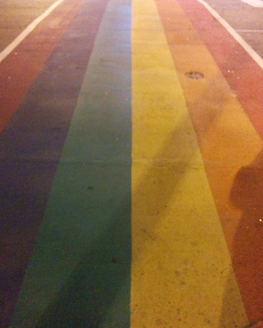 Rainbow crosswalk at Church and Maitland #toronto #churchstreet #churchandwellesley #maitlandstreet #rainbow #crosswalk #night #lgbtq
