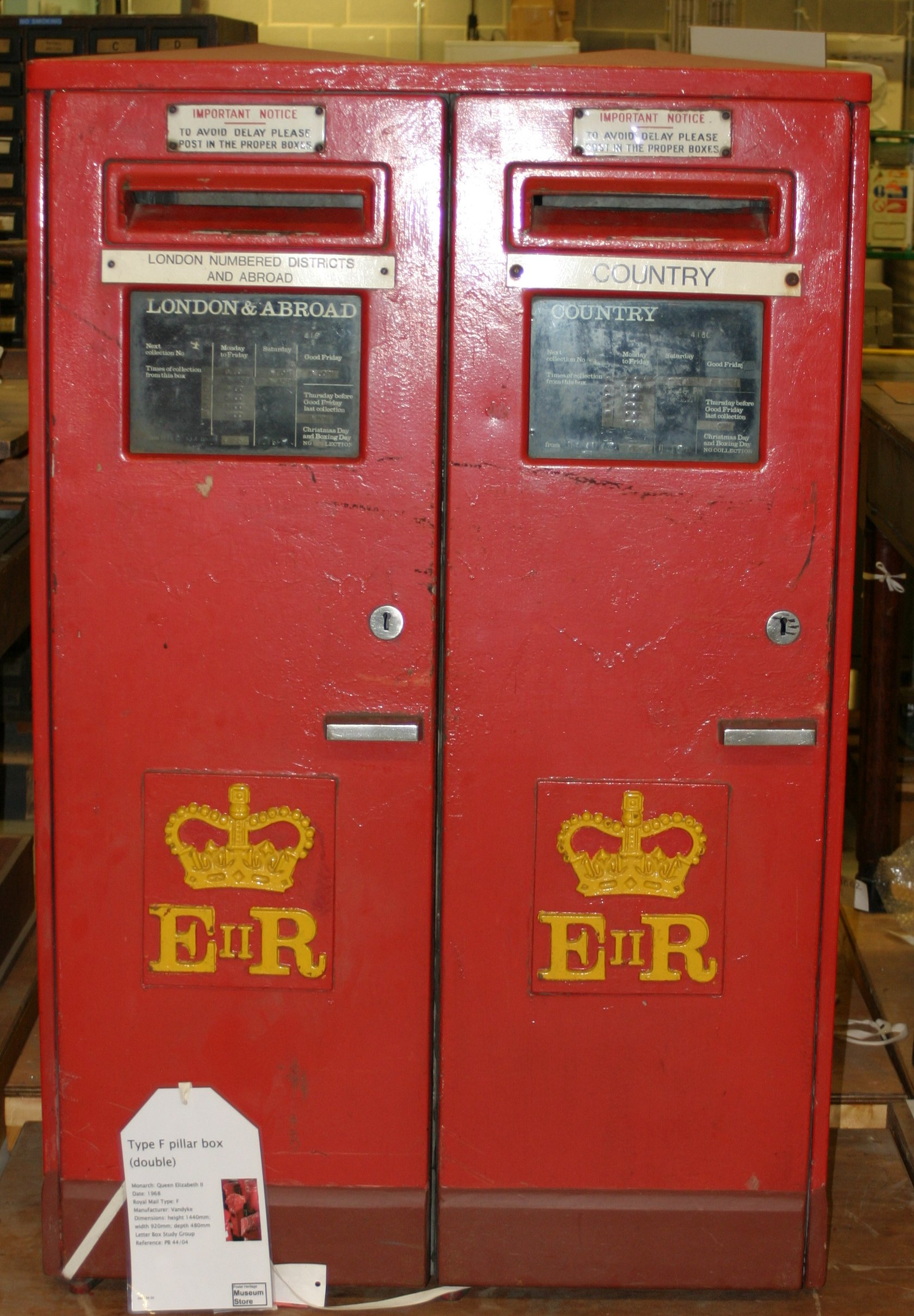 A rare double Type F pillar box by Vandyke Engineering (1968) at the BPMA Store, Debden, Essex. Photo taken on July 14, 2005.