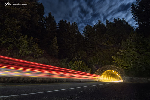 night dark lights long shutter longexposure tunnel mountain cars streak red blue sky clouds landscape tripod canon tamron oregon vernonia 26 highway road street trees forest cave color