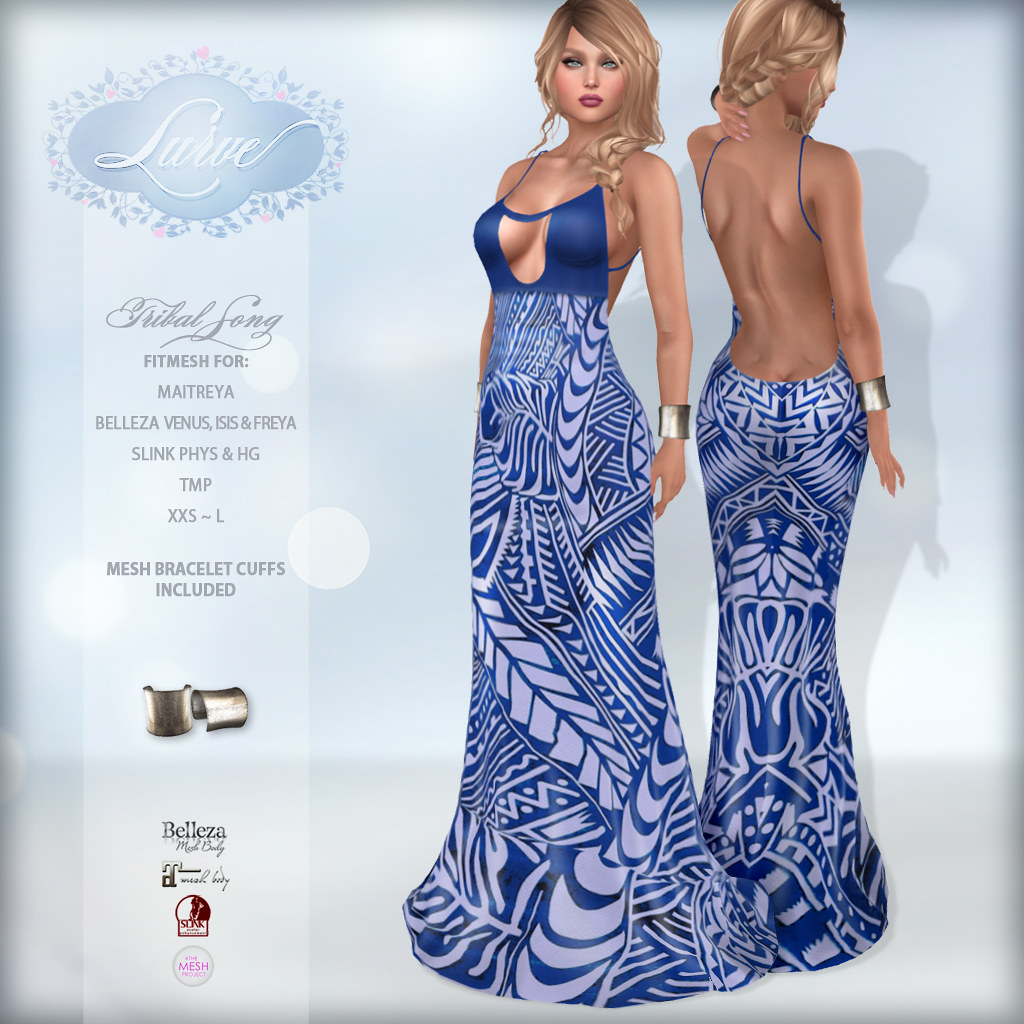 *Lurve* Tribal Song Fitmesh Gown – Blue