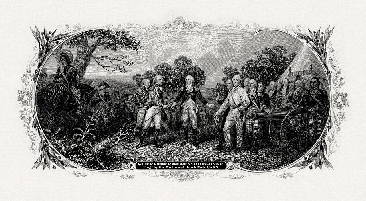 Bureau of Engraving and Printing engraved vignette of John Trumbull's painting Surrender of General Burgoyne (1821). Engraving by Frederick Girsch of the National Bank Note Company for the BEP. Scanned from an original impression, part of a Treasury Department presentation album of portraits and vignettes (c. 1902), possibly presented to Lyman Gage. This version also omits the U.S. flag flying over the tent at right.