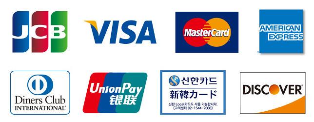 おすすめのクレジットカードを説明します!画像はクレカの国際ブランド。左上からJCB、VISA、マスター、アメックス、ダイナース、銀聯、新韓、ディスカバーです。