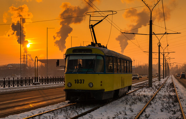 Almaty tramway (closed): frosty winter sunset